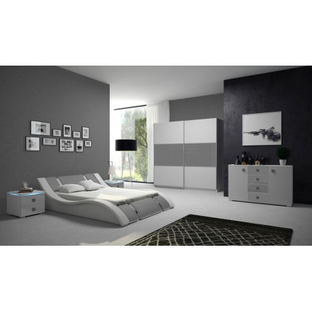 Sypialnia RUBIN biało-szara