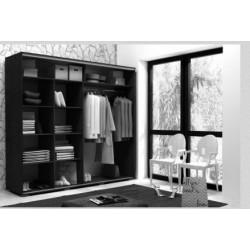 Wnętrze szafy o szerokości 230 cm Szafa LUXURY biało-czarna