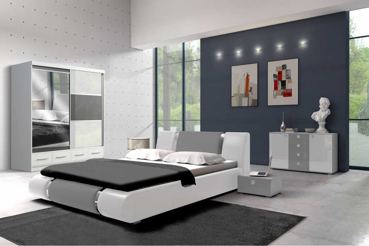 Sypialnia ANATAZ biało-szara