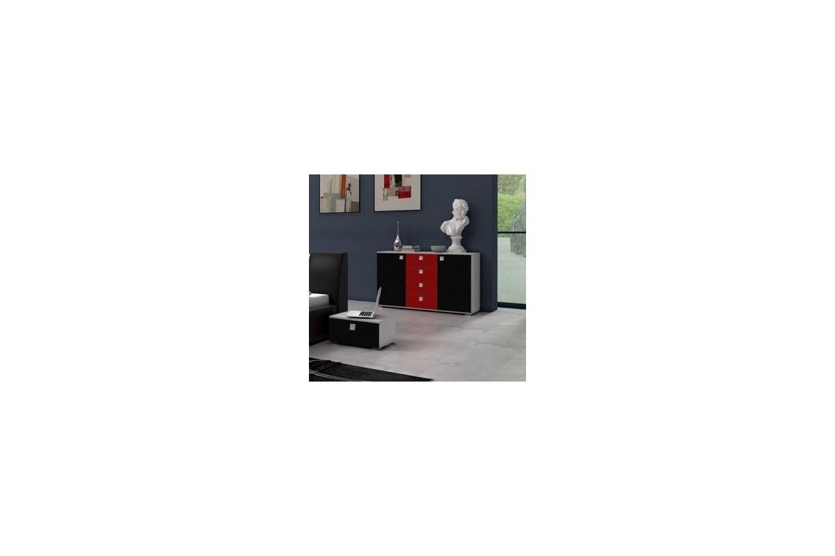 Komoda CLASSIC czarno-czerwona