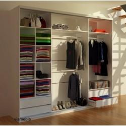 Wnętrze szafy RUBIN z 4 szufladami Szafa RUBIN biało-czarna