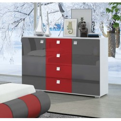 Komoda 120x77x43 cm Sypialnia LUXURY w kolorze szaro-czerwonym