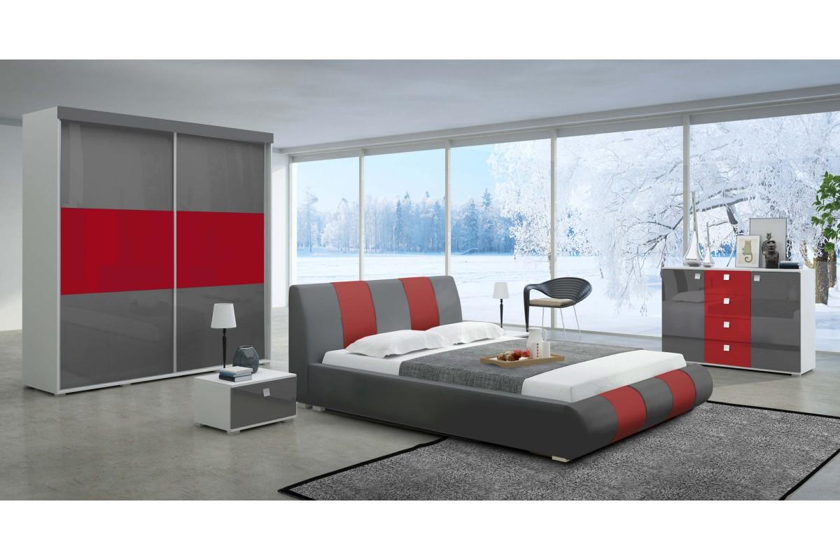 Sypialnia LUXURY w kolorze szaro-czerwonym