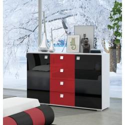 Komoda 120x77x43 cm Sypialnia LUXURY II w kolorze czarno-czerwonym