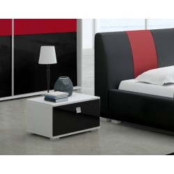 Stolik nocny Sypialnia LUXURY II w kolorze czarno-czerwonym