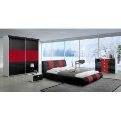 Sypialnia LUXURY II w kolorze czarno-czerwonym