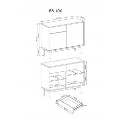 III. wymiary komody II BK 104 Zestaw SIMPLE