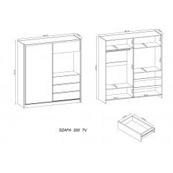 Szczegółowe wymiary szafy Szafa TV 204x214 biała z lustrem