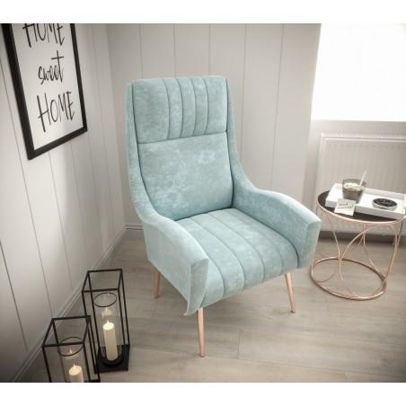 Minimalistyczny fotel TOP pastelowy niebieski