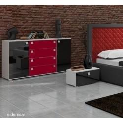 Komoda CLASSIC III czarno-czerwona Komoda CLASSIC III czarno-czerwona