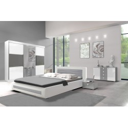 Sypialnia ROYAL I biało-szara