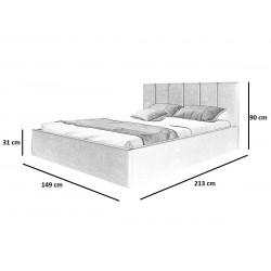 Schemat wymiarów łóżka 140x200 Łóżko ROSSIE musztardowe