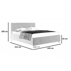Schemat wymiarów łóżka 140x200 Łóżko OLIWA beżowe