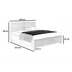Schemat wymiarów do łóżka 140x200 Łóżko LORENZO bordowe