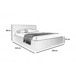 Schemat wymiarów do łóżka 140x200 Łóżko MOLI musztardowe