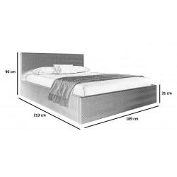 Schemat wymiarów do łóżka 180x200 Łóżko SHINE jasnoszare