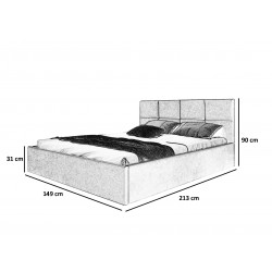 Schemat wymiarów do łóżka 140x200 Łóżko GLAM granatowe