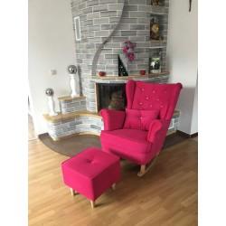 Komplet fotel bujany + podnóżek różowy Komplet fotel bujany + podnóżek turkusowy