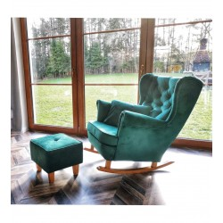 Komplet fotel bujany + podnóżek butelkowa zieleń Komplet fotel bujany + podnóżek turkusowy