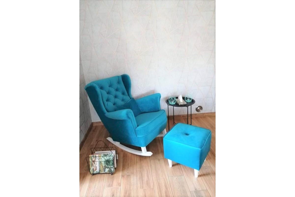 Komplet fotel bujany + podnóżek turkusowy