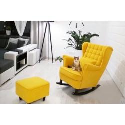 Fotel uszak bujany kratka + podnóżek